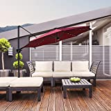 COBANA 10' Offset Patio Umbrella with Solar Powered 32LED and Blue-Tooth Speaker and 360 Degree Rotation Pole