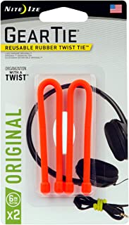 product image for Nite Ize Original Gear Tie, Reusable Rubber Twist Tie, 6-Inch, Bright Orange, 2 Pack, Made in the USA
