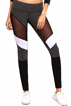 37ae9d5eb83269 Fittoo Women Mesh Contrast Stitching Workout Pants Gym Yoga Leggings Black  Quick Dry Tight Mesh10(