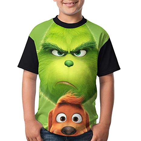 4a765ccd Unisex Youth Children The Grinch Stole Christmas 3D Printing Short Sleeve  Shirt For Boys&Girls