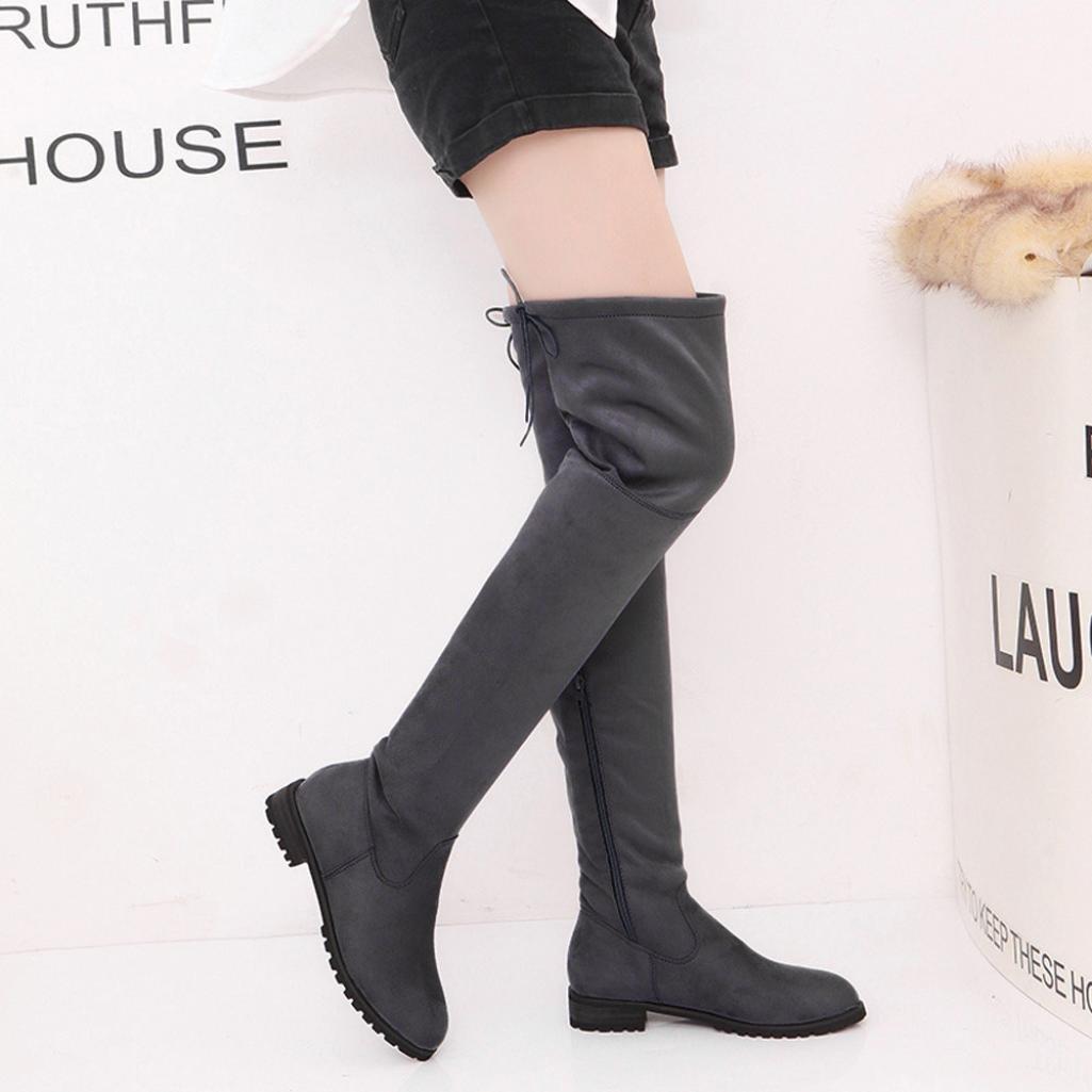 Botas altas para mujer Botas de tobillo de mujer Hebilla Delgado Alto Sobre la rodilla Recortar Plano Casual Zapatos negro Gris Rojo LMMVP: Amazon.es: ...