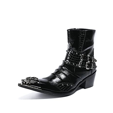 GLSHI Zapatos de Hombre de Cuero 2018 Spring Fall High-Top Botas de Moda Trend