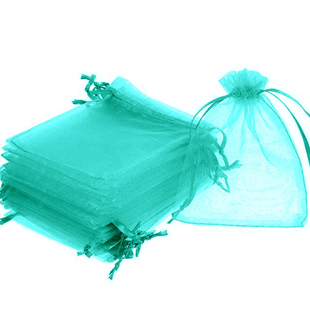 Time to Sparkle TtS 25 Pieces Pouches Organza Gift Bags Oragnza Wedding Favour Bags Jewellery Packing Aqua, 5x7cm