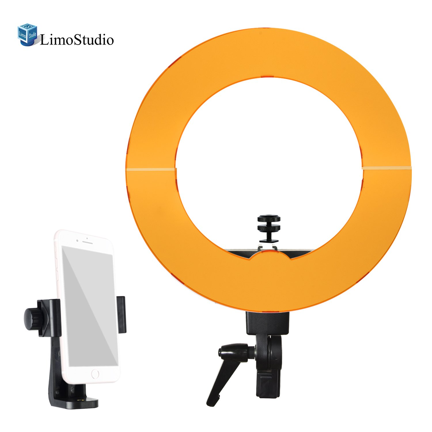LimoStudio 14-inch Diameter LED Continuous Round Ring Light with Tripod Mount Clip Cell Phone Holder & 1/4'' Hot Shoe Mount Adapter Holder with White and Orange Diffuser Cover, AGG2466