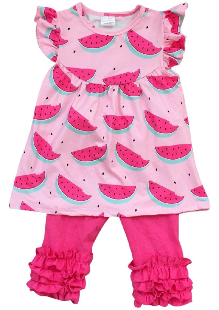 Girls 2 Pieces Pant Set Watermelon Dress Ruffle Pants Outfit Clothing Set Pink 7 XXL (201254)