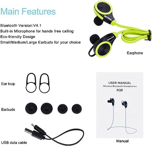 Auriculares estéreo inalámbricos Ecandy Bluetooth 4.0 para correrDeportes y fitness. Auriculares, manos libres con micrófono de función libre para
