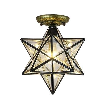 HAIXIANG Glass Moravian Star Ceiling Chandelier Lamp Flush Mount Iron  Lighting Ceiling Fixtures Transparent Glass 11 8Inch
