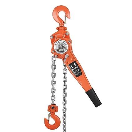 VEVOR 1 5T 3000LBS Ratchet Block Manual Lever Hoist Come Along Chain Puller  20 FT Lift (20ft)