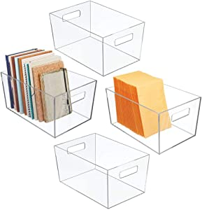 mDesign Plastic Storage Bin with Handles for Office, Desk, Book Shelf, Filing Cabinet - Organizer for Sticky Notes, Pens, Notepads, Pencils, Supplies - 4 Pack - Clear