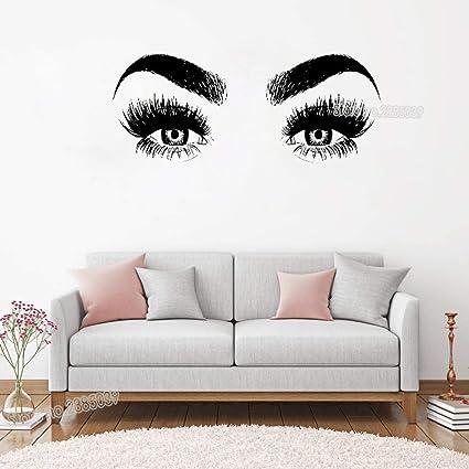 5a3358e0c18 Amazon.com: Melissalove Beauty Salon Eye Eyelashes Wall Decal Art Vinyl  Home Wall Decor Large Lashes Eyebrows Wallpaper DIY Removable Wall Sticker  LC147 ...