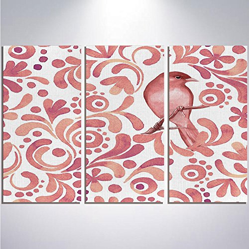 3 Pieces Modern Painting Canvas Prints Wall Art For Home Decoration Watercolor Print On Canvas Giclee Artwork For Wall DecorCute Bird on Tree Branch Floral Swirls Curves Little Dots Wildlife-Coral Dri