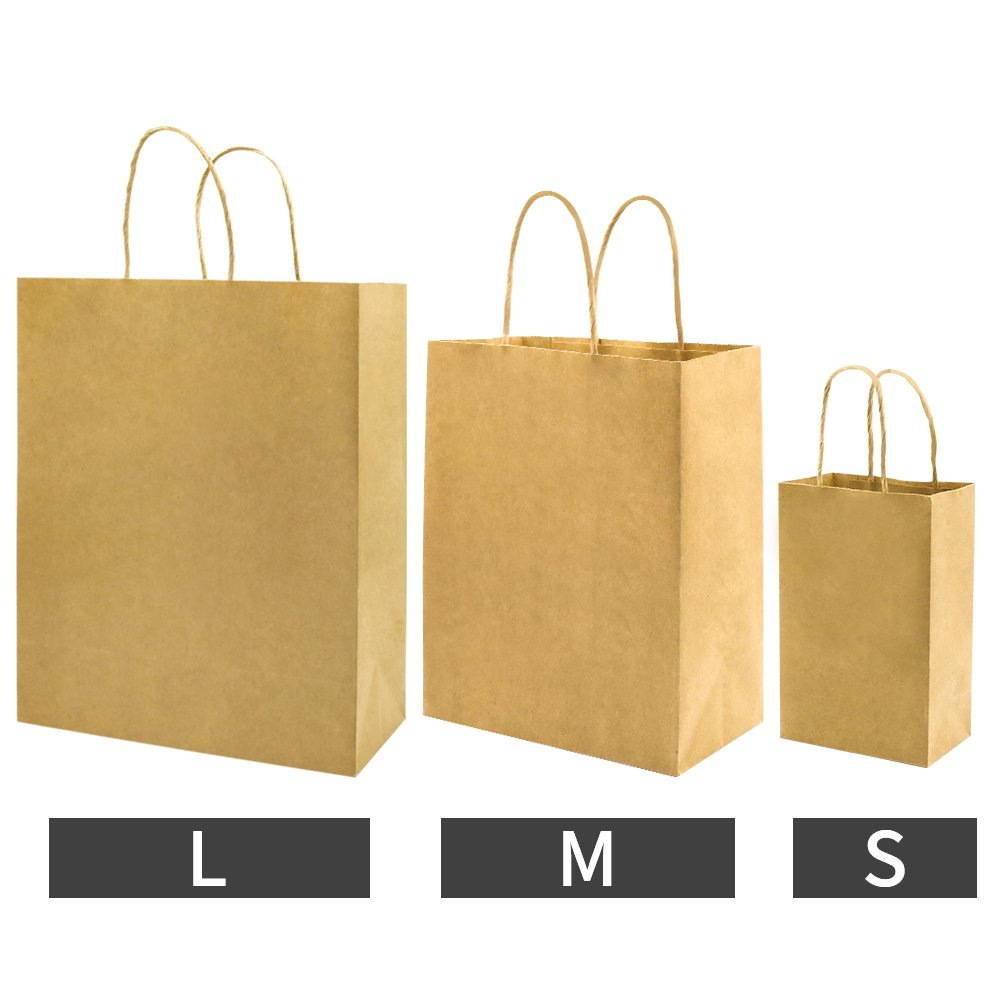 Bagmad Thicker Paper 50 Count 10x5x13, Large Kraft Paper Shopping Bags with Handles,Gift Natural Party Retail Craft Brown Bags,50PCS by Bagmad (Image #7)