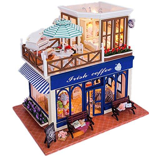 DIY Led ` Irish Coffee Shop「ドールハウスミニチュアハウスキットwithダストカバーDIY部屋ギフトおもちゃの商品画像