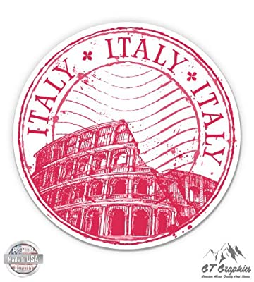 Italy Rome Travel Stamp Colosseum - Vinyl Sticker Waterproof Decal