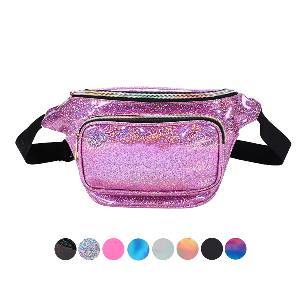 Holyami Fashion Holographic Fanny Pack for Women Men-Waterproof Travel Waist Packs Bum Purse Bags for Rave, Festival,Hiking (Glitter Purple)