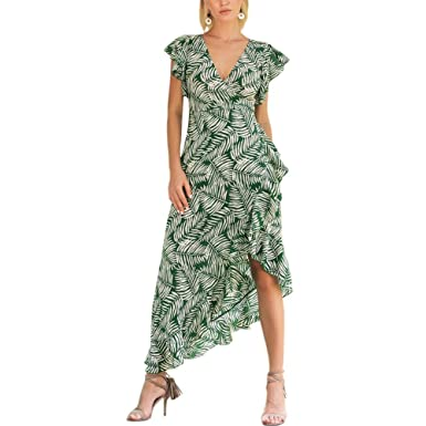 iBaste Womens Long Bohemia Chiffon Dress V Neck Short Sleeve Waist Tie Green Leaf Print Sexy