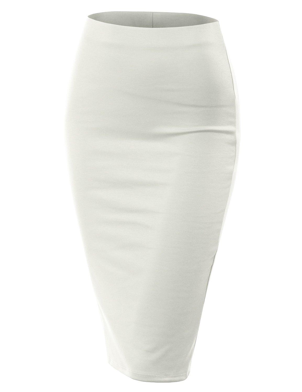Doublju Stretch Knit Midi Pencil Skirt with Back Slit for Women with Plus Size Ivory 3XL
