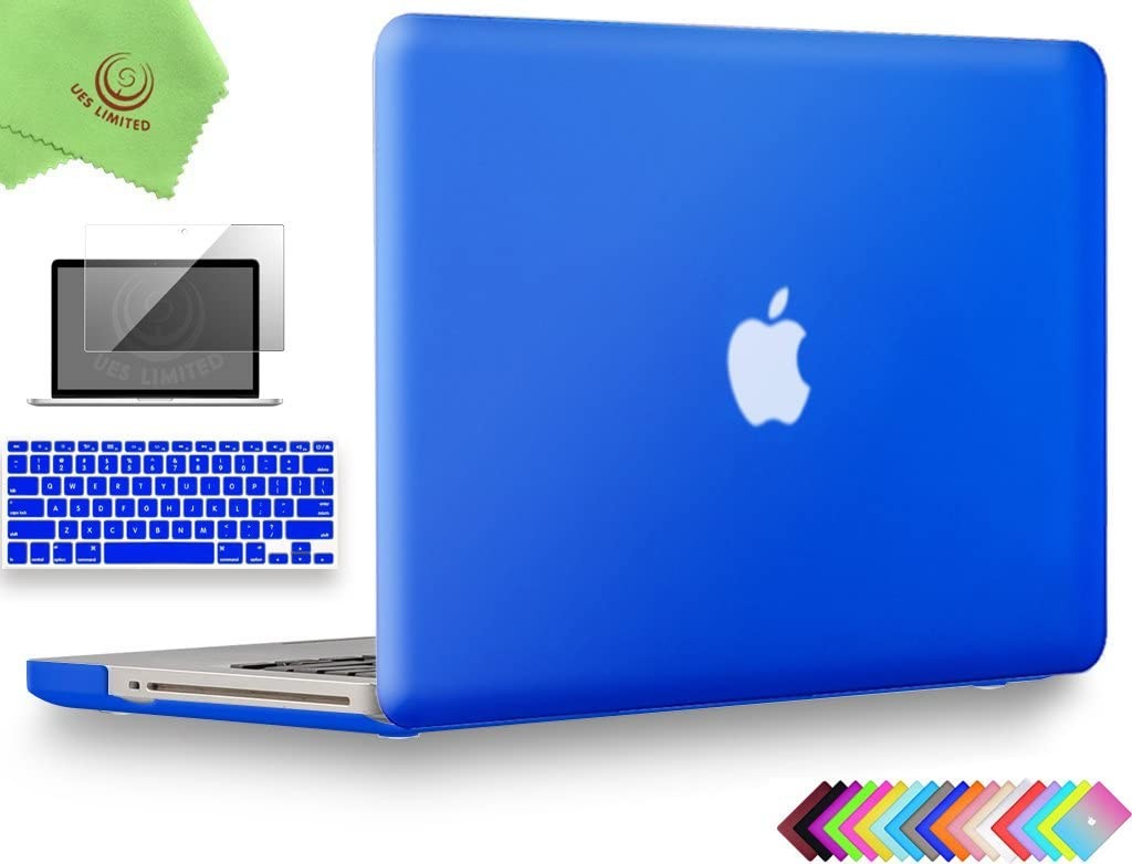 UESWILL 3in1 Smooth Matte Hard Shell Case Cover Compatible with MacBook Pro 15 inch with CD-ROM (Non-Retina) (Model A1286) + Keyboard Cover and Screen Protector + Microfibre Cleaning Cloth, Royal Blue