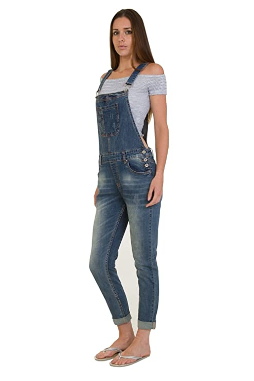 c7da80ab05bc Kingfansion Women Strappy Ripped Stretchy Jumpsuit Cotton Straight Leg  Denim Overalls