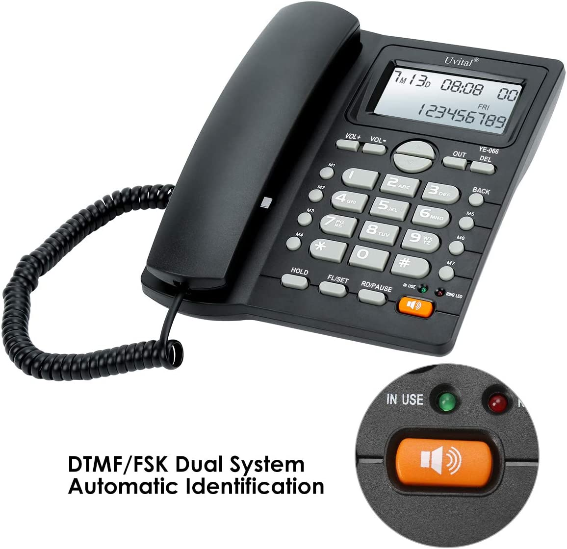 Desktop Corded Telephone, Hands-Free Calling, LCD Display, DTMF/FSK Dual System, Wired Landline Phone for Home/Hotel/Office, Adjustable Volume, Real Time Date&Week Display, Adjustable LCD Brightness