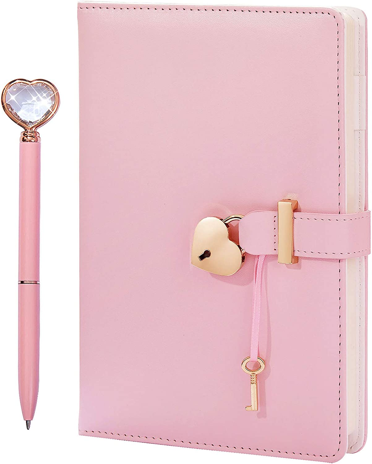 Heart Shaped Lock Diary with Key&Heart Diamond Pen,PU Leather Cover,A5,Journal Secret Notebook Gift for Women Girls (A5(8.5