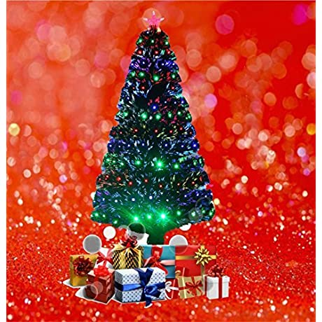 6ft Green Artificial Fibre Optic Christmas Xmas Tree With Multi LED 180cm T823 By HBS Ltd