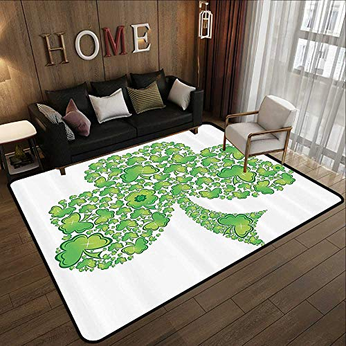 Patterns Trinity (Contemporary Synthetic Rug,Celtic Decor Collection,Irish Shamrock Figure Made with Small Clover Patterns Holy Trinity Symbol Graphic Work,Green WHI 35