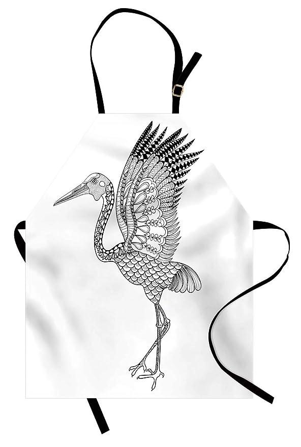 Delantal de grúa, dibujado a mano Brolga Pájaro australiano ...