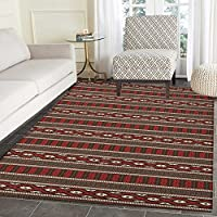 Native American Area Rug Carpet Horizontal Borders with Ethnic Ikat Primitive Aztec Style Pattern Living Dining Room Bedroom Hallway Office Carpet 3x4 Black Ruby White