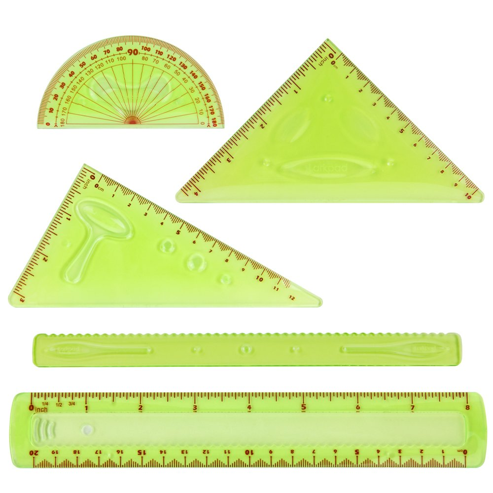 Larkpad Soft Plastic Combo Rulers 6-inch, 180 Degree Protractor, 2 Triangle and 1 Wave, 5 in 1 Pack Flexible Rulers, inches and Metric, for Office or School, Green