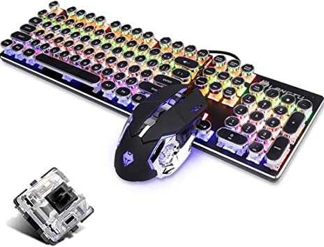 Wired Optical Blue Breathing Backlit Ergonomic Metal Multimedia Keys USB Keyboard for PC Laptop Computer QWERTY Key OFNMD Mechanical Feel Gaming Keyboard