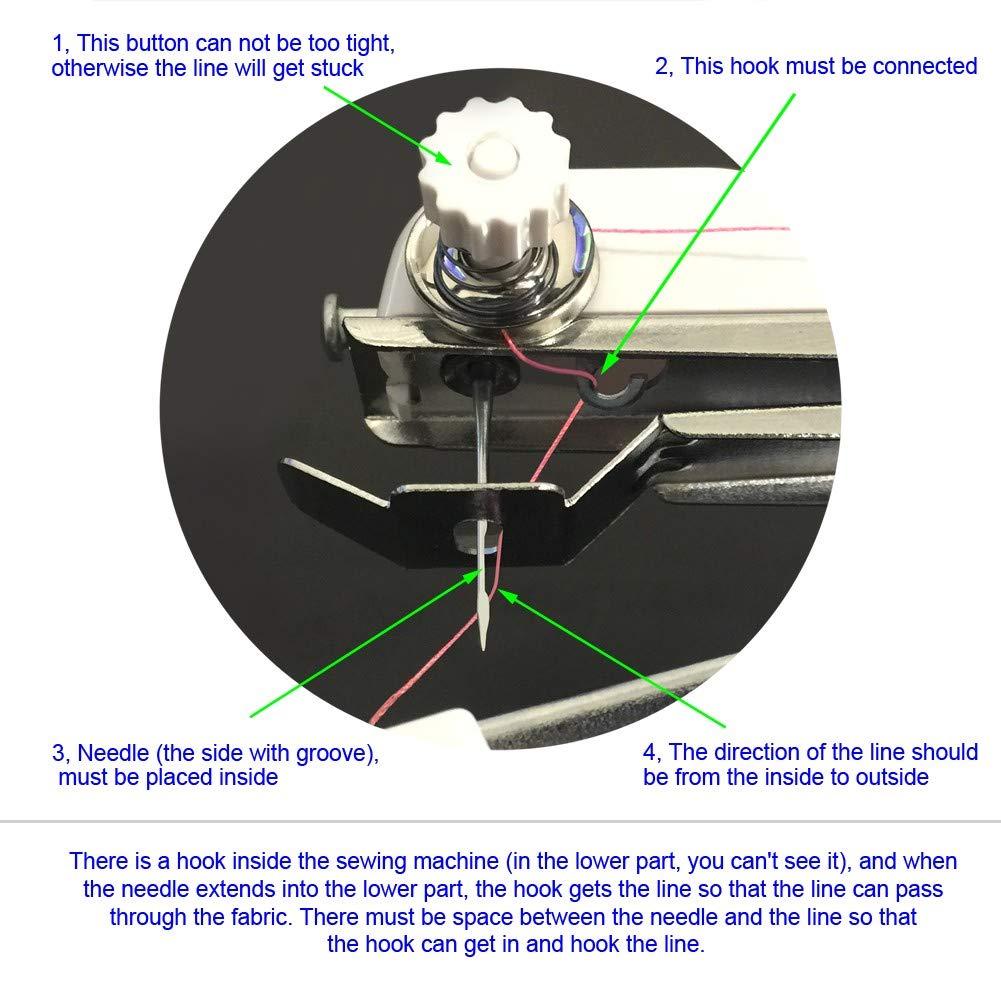 TTMOW Mini Máquina de Coser Portátil Manual Herramienta de Puntada Rápida con Tijeras y Otros Accesorios de Costura para Tela, Ropa o Tela de Niños: ...