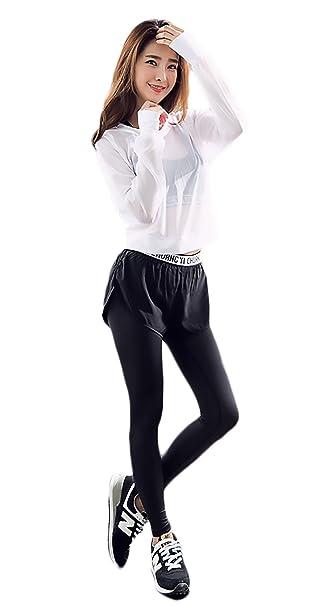 50807cc5deb3 Adelina Tute Sportive Donna 3 Pezzi Yoga Jogging Training Asciugatura  Veloce Traspirante Tuta da Ginnastica Magliette+Reggiseni Sportivi+Leggings  ...