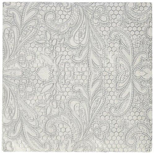 Paperproducts Design 1251110 Beverage/Cocktail Embossed Lace Royal Elegant Paper Napkin, 5 by 5-Inch, (Pearl Beverage Napkins)