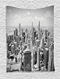Ambesonne Apartment Decor Collection, Chicago Skyline Aerial View Contemporary Famous Touristic Places Picture Pattern, Bedroom Living Room Dorm Wall Hanging Tapestry, Gray