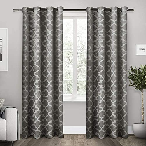 Exclusive Home Curtains Cartago Insulated Woven Blackout Grommet Top Curtain Panel Pair, 54×108, Black Pearl, 2 Piece