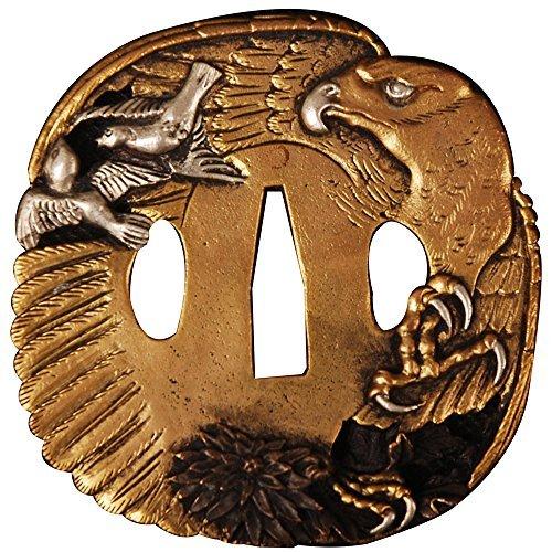 SHIJIAN Brass Tsuba Eagle Guard Plated with Gold & Silver for Japanese Katana Sword Wakizashi ()