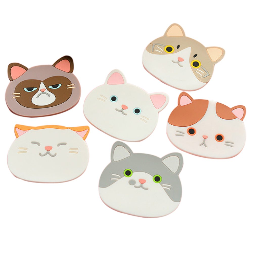 Ozzptuu Set of 6 Silicone Cartoon Cat Pot Holders Heat-resistant Non-slip Trivet Mat Hot Pot Cup Coasters by Ozzptuu