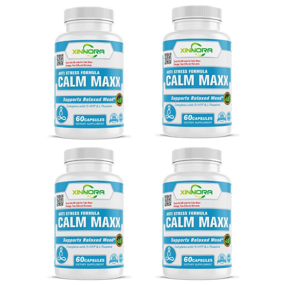 XINNORA Calm Maxx - Relaxed Mood Formula Men & Women - Natural Anxiety Relief Supplement - Supports Relaxed Mood, Anti-Anxiety, Stress Relief - 5-HTP, L-Theanine, Rhodiola, Ashwagandha 60Caps x 4 BTL