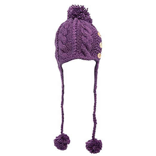 Tickled Pink Women s Cable Knitted Winter Beanie Hat Warm Ladies Fashion  Pom Cap Soft Earflap c907daa50960