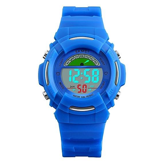 Las niñas reloj digital, Skmei Boy resistente al agua alarma deportes relojes, los niños Niños electrónica LED reloj de pulsera: Amazon.es: Relojes