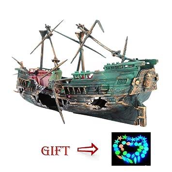 Balai - Figura decorativa para acuario con forma de barco roto grande, diseño de pecera, 10 piezas de forma de estrella artificial y luminosa: Amazon.es: ...