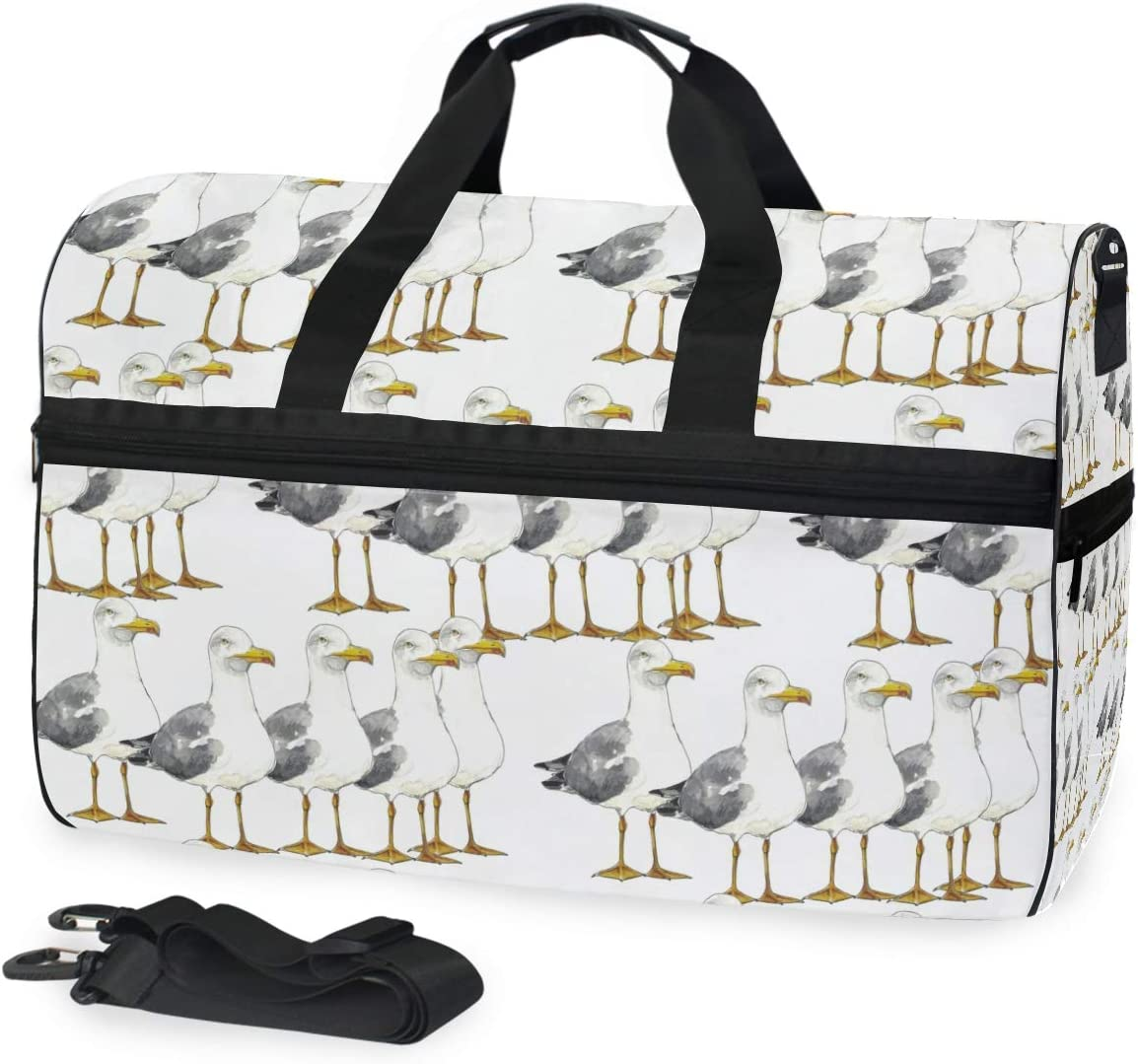 FAJRO Gym Bag Travel Duffel Express Weekender Bag Cute Sea Mew In Line Pattern Carry On Luggage with Shoe Pouch