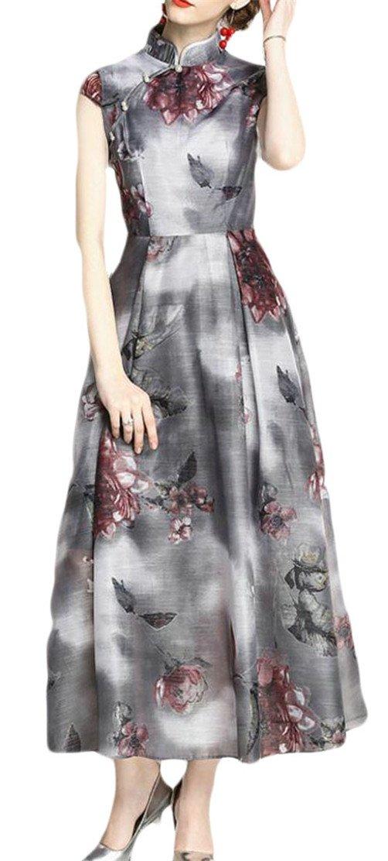 Etecredpow Womens Pleated Swing Ethnic Style Qipao Slim Fit Printed Dress Gray S