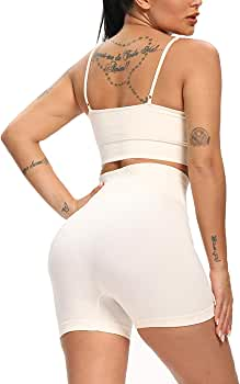 Workout Biker Shorts Sets Sexy Two Piece Outfits For Women Seamless High Waist Yoga Shorts Leggings And Sports Bra Set For Athletic Beign S Clothing Amazon Com