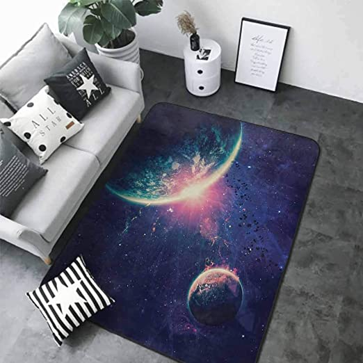Amazon Com Thin Non Slip Kitchen Bathroom Carpet Colorful Galaxy Outer Space Theme Planet Earth Mars In Space Discovery Of Universe Astronomy Art Navy Blue Pink 80 X 120 Bathroom Rugs Kitchen Dining