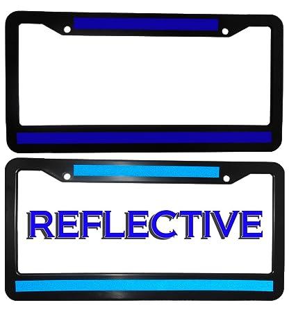 Amazon.com: Thin Blue Line License Plate Frame DOUBLE BLUE LINE ...