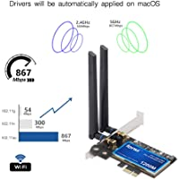 PC Hackintosh WiFi & BT wifi card 802.11a/g/n/ac WLAN + BT 4.0 PCI-E Network Adapter mac-compatible Wi-Fi AirDrop Handoff Instant Hotspot macOS MIMO 2x2 Mac OS X natively supported BCM4360 802.11ac