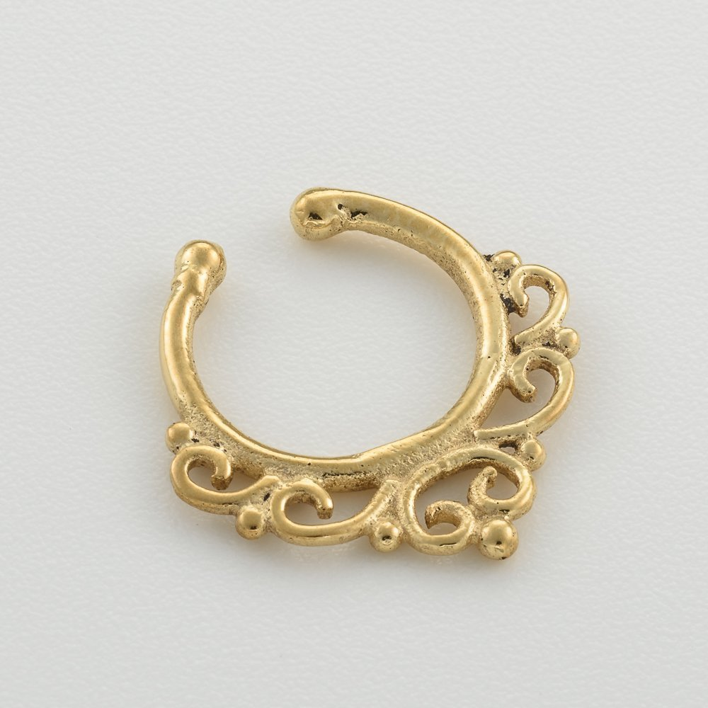 Handmade Designer Piercing Jewelry 18g Fake Septum Nose Ring Indian Tribal Style Faux Brass Clip On Non Pierced Septum Hoop
