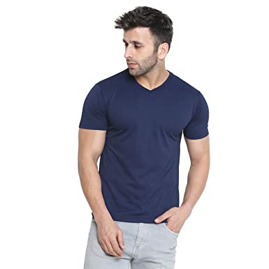 38d5a75aa0b8 CHKOKKO Dry Fit V Neck Polyester Half Sleeves Plain Sports and Gym T Shirt  for Men's